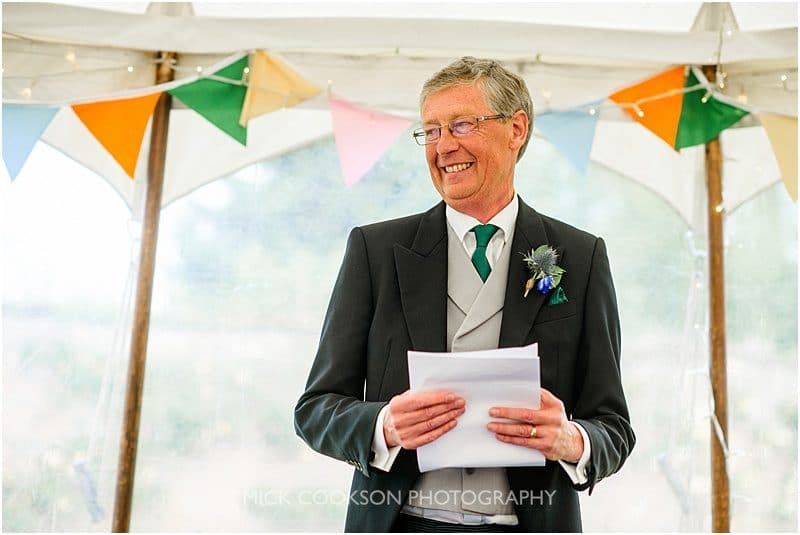 father of the bride at a marquee wedding in york