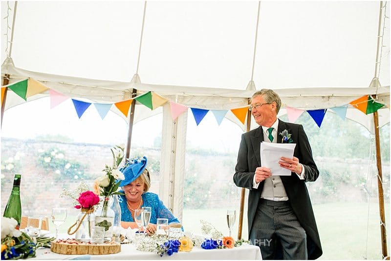 wedding speeches at a marquee wedding in york