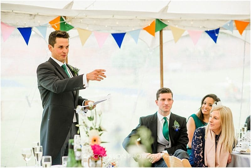 groom speech at a marquee wedding in york
