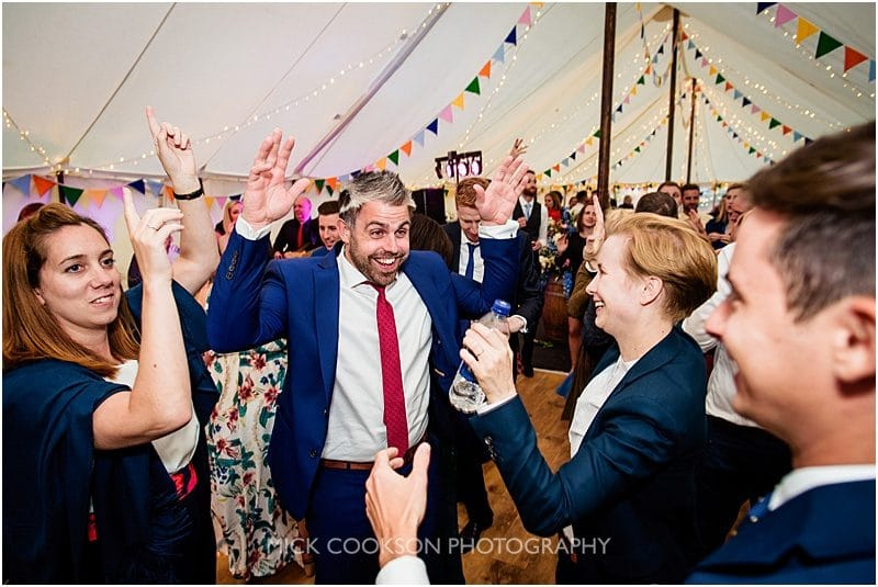 guests dancing at a marquee wedding in york