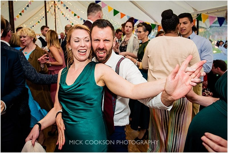 wedding guests dancing at a marquee wedding in york
