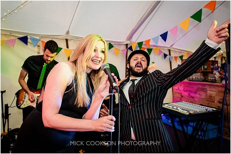 soul band performing at a marquee wedding in york